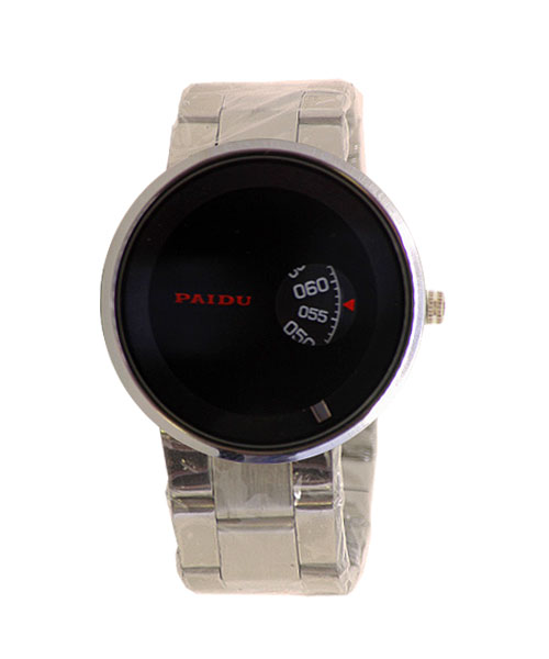 Rotating orb analogue men's boys all steel watch.