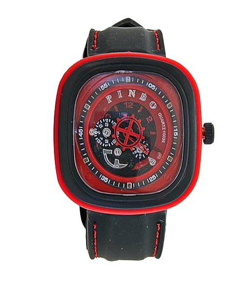 Pinbo 10035 Red Black Mens Boys Watch.