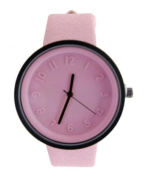 Pink round girls analogue wrist watch.