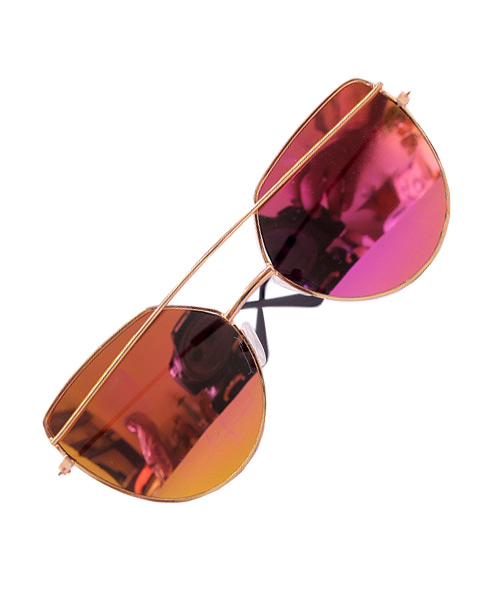 Gold rose pink mirrored Cat Eye sunglasses.