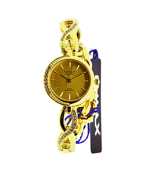 Diamond studded gold watch for women.