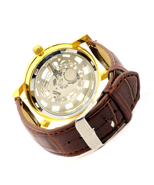 Skeleton men's gold watch.