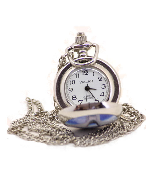 Classic pocket watch with silver chain.
