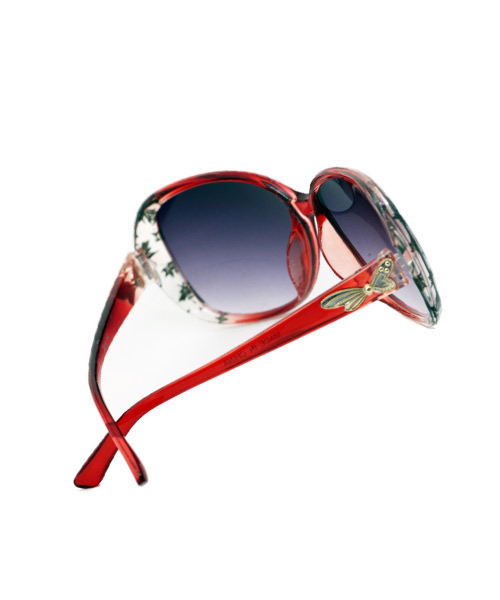 Oversized purple lens womens sunglasses.