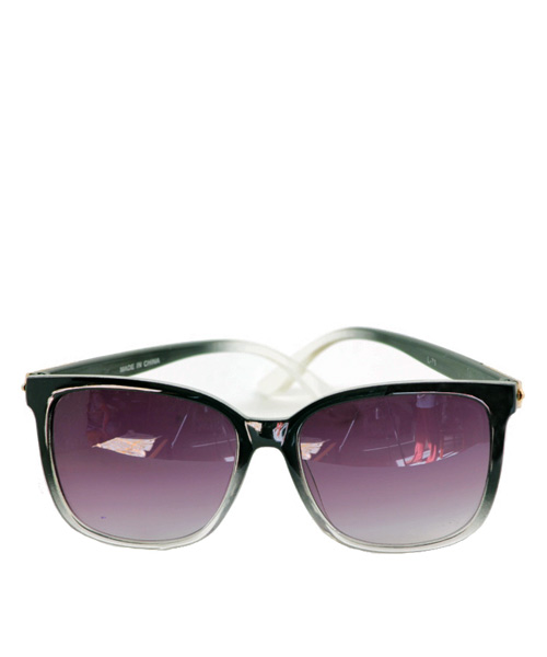 Wayfarer purple lens transparent sunglasses women.
