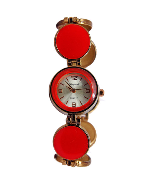 Round shape copper red stone bracelet watch.