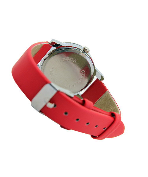 Heart printed red strap girls watch.