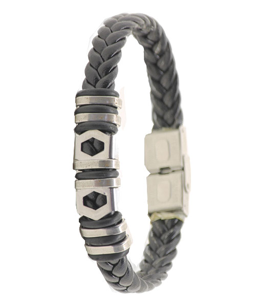 Braided metal rings girls bracelet safety clasp.