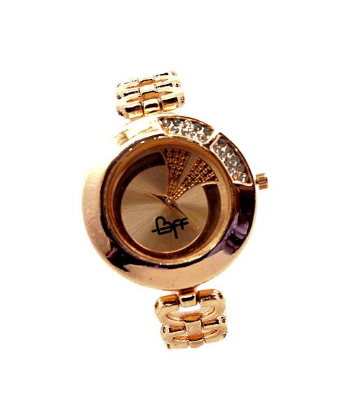 Round rose gold womens bracelet watch.