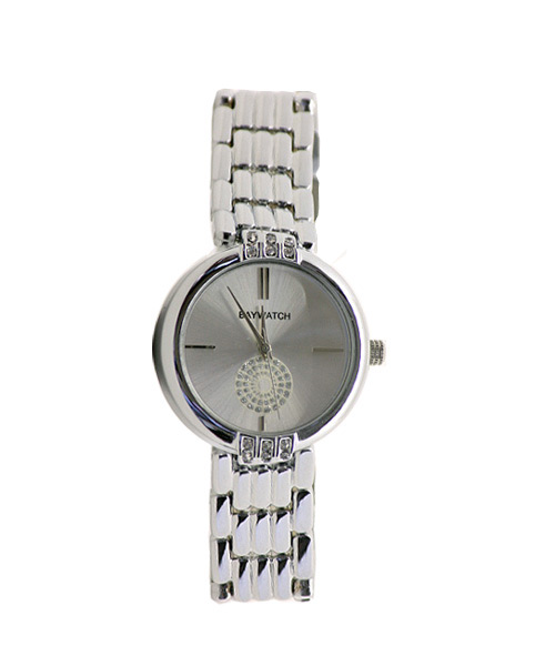 Round diamond studded silver wrist watch for girls.