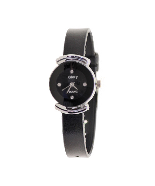 Slim round silver wrist watch for girls women.