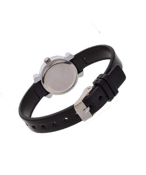 Slim round silver wrist watch for girls women.