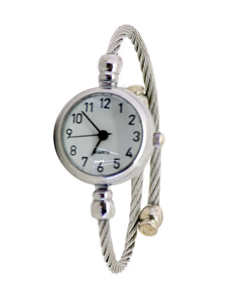 Braided silver band girls watch.