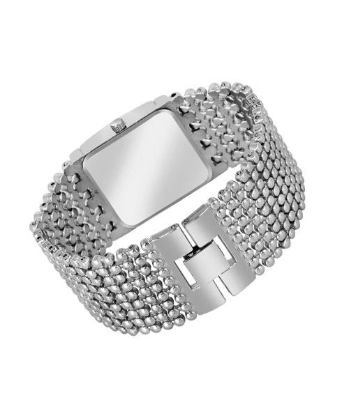 Rectangular silver diamond womans watch.