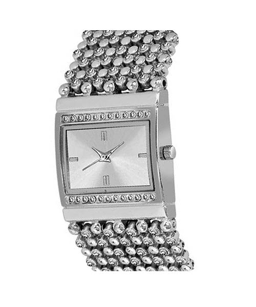 Rectangular silver diamond womans watch.