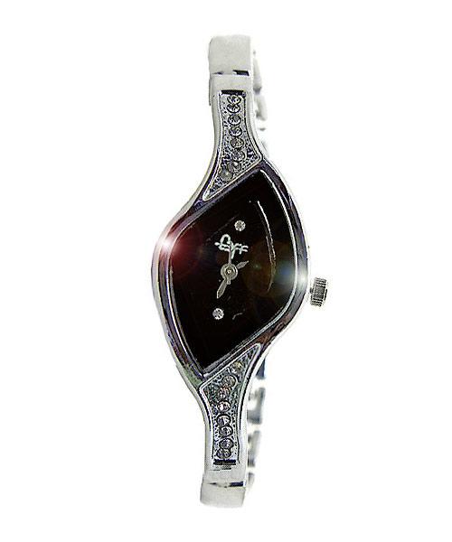 Leaf shaped silver designer womens watch.