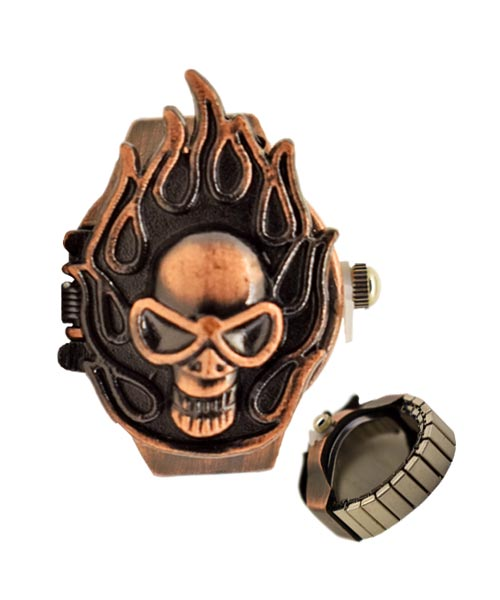 Skull Flame Retro Vintage Finger Ring Watch.