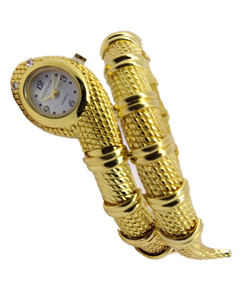 Serpentine diamond studded gold womans watch.