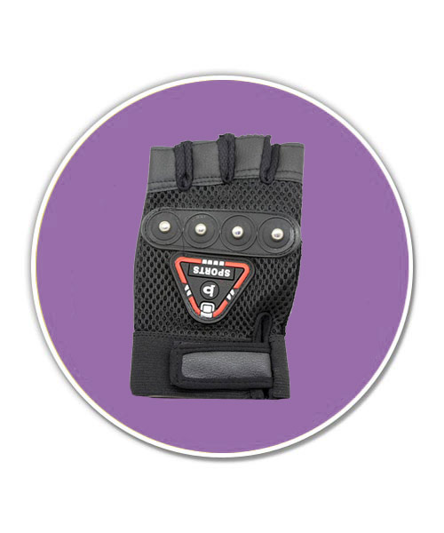 Half finger leather bike sports glove.