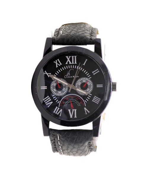 Affordable round classic all black wrist watch for boys.