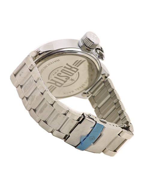 Stylish silver watch boys men day date feature.