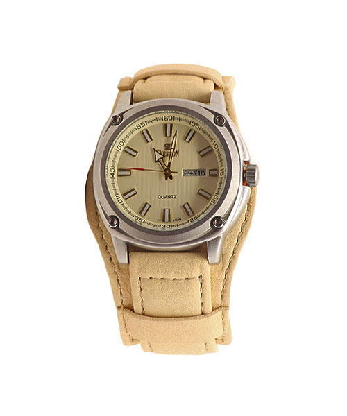 Sveston double strap cream leather luxury adventure watch for men.
