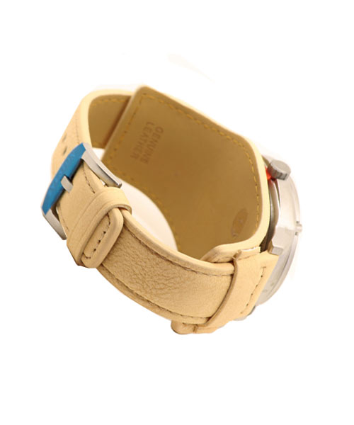 Sveston double strap cream leather luxury adventure watch for men.