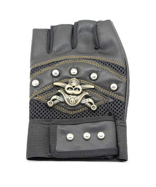 Half Finger Leather Bike Motif Gloves.