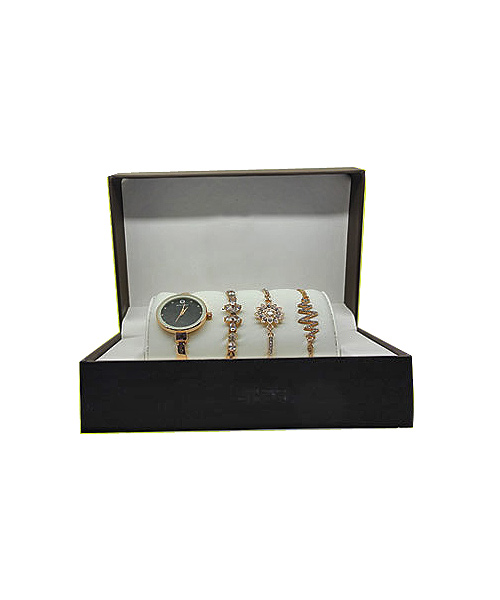 Gold watch three bracelet gift combo.