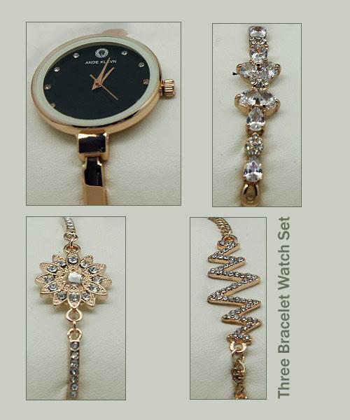 Gold watch three bracelet gift combo.
