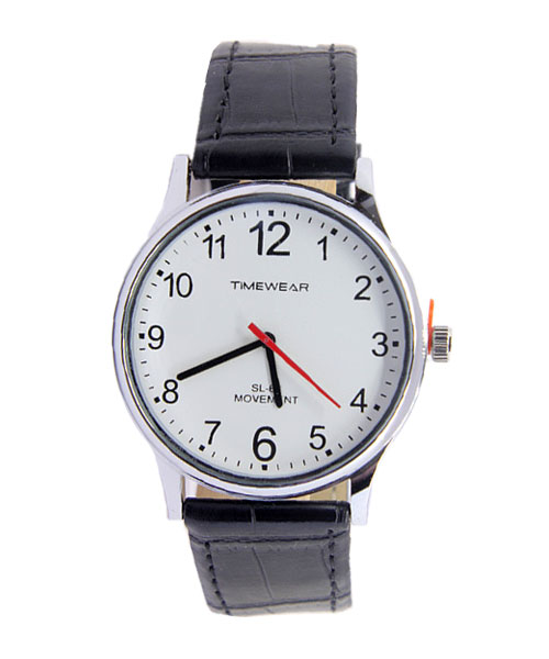 Timewear classic round leather mens watch.