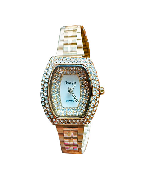 Gold and diamond studded wedding watch for ladies.