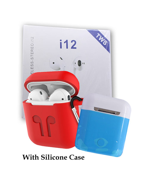 TWS i12 Earbuds white with case.