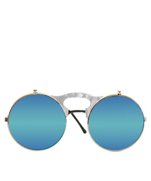 Stylish steampunk mirrored blue sunglasses.