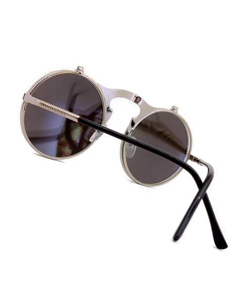 Stylish steampunk mirrored blue sunglasses.