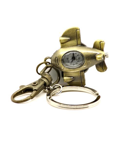Bronze keychain quartz watch with clasp and airplane pendant.