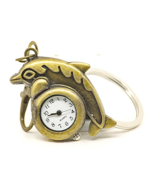 Bronze keychain quartz watch with clasp and dolphin pendant.