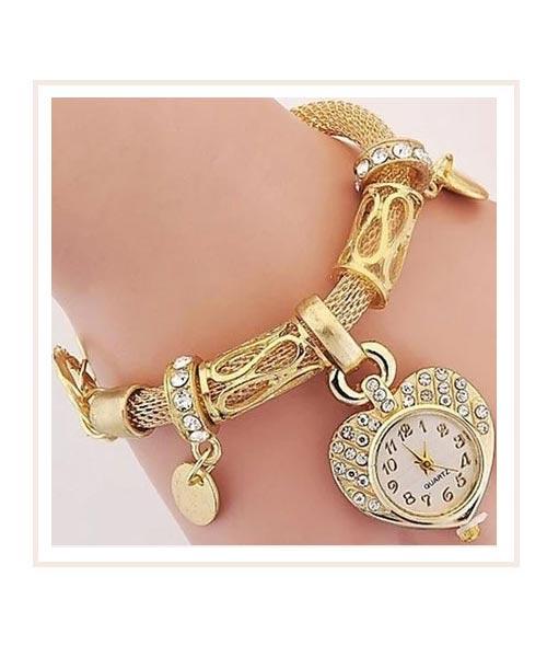 Vintage style charm analog gold watch girls.