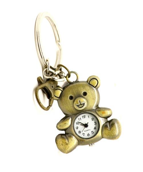 Bronze keychain quartz watch with clasp and Teddy pendant.
