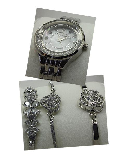 Womens silver bracelets watch combo.