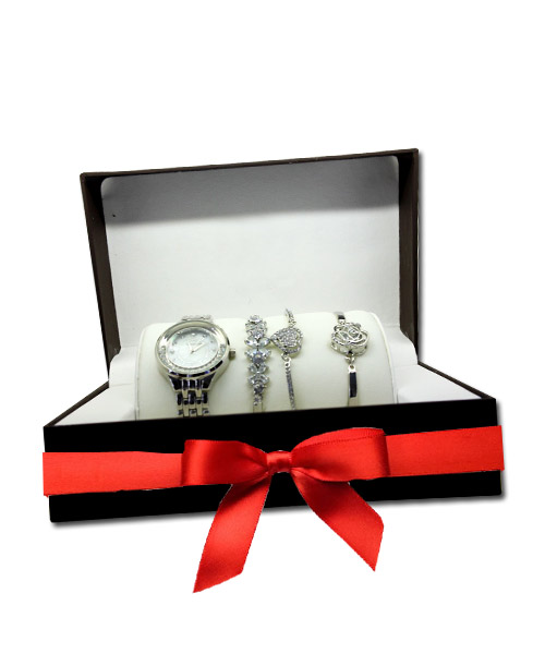 Womens silver bracelets watch combo.