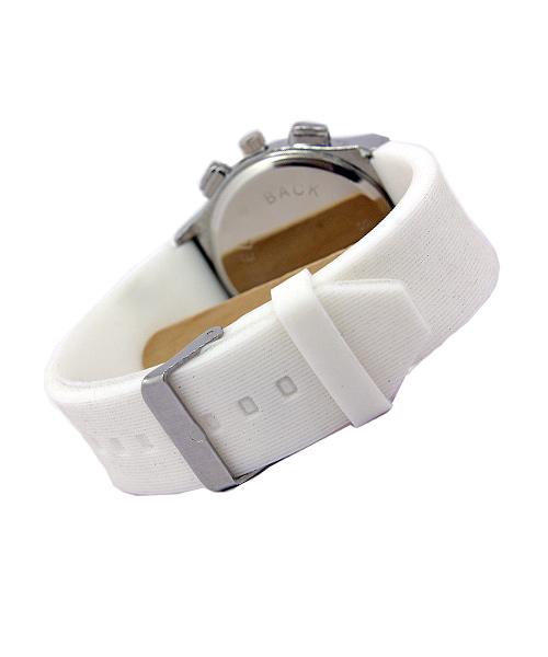 White Silicone Strap Silver mens watch.