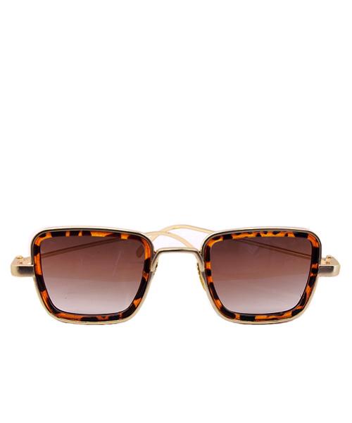 Rectangular gold frame leopard print border sunglasses.
