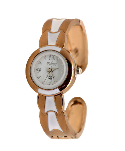 Glossy Finish Copper Bangle Cuff Watch for Women.