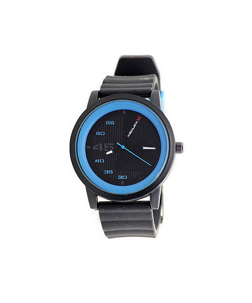 Xenlex Black Blue Dial Silicon Strap Watch