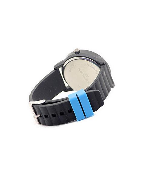Xenlex Black Blue Dial Silicon Strap Watch