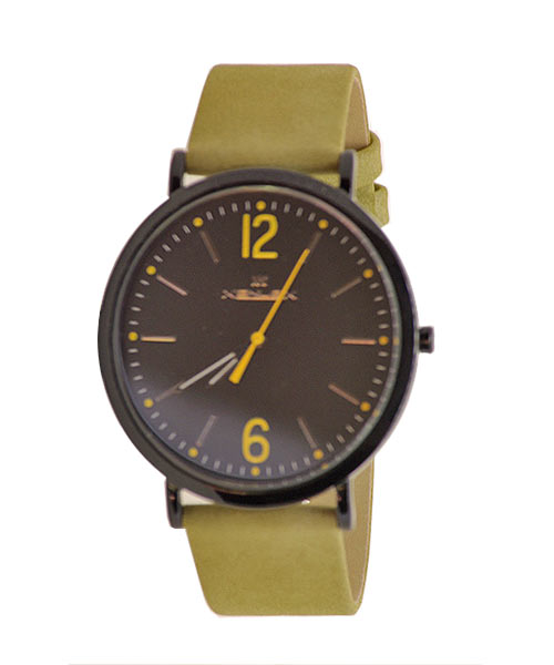Stylish designer black case suede strap wrist watch for boys men.
