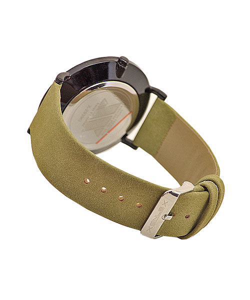 Stylish designer black case suede strap wrist watch for boys men.