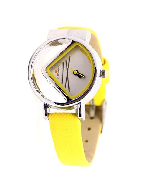 Yellow silver women's watch.