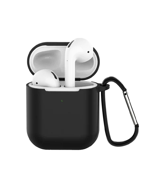 Airpods TWS i12 black silicone case with carabiner.